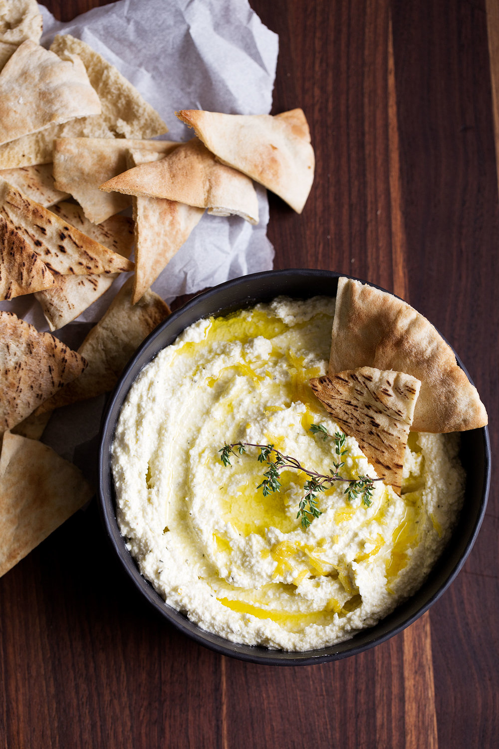 whipped feta dip with pita chips