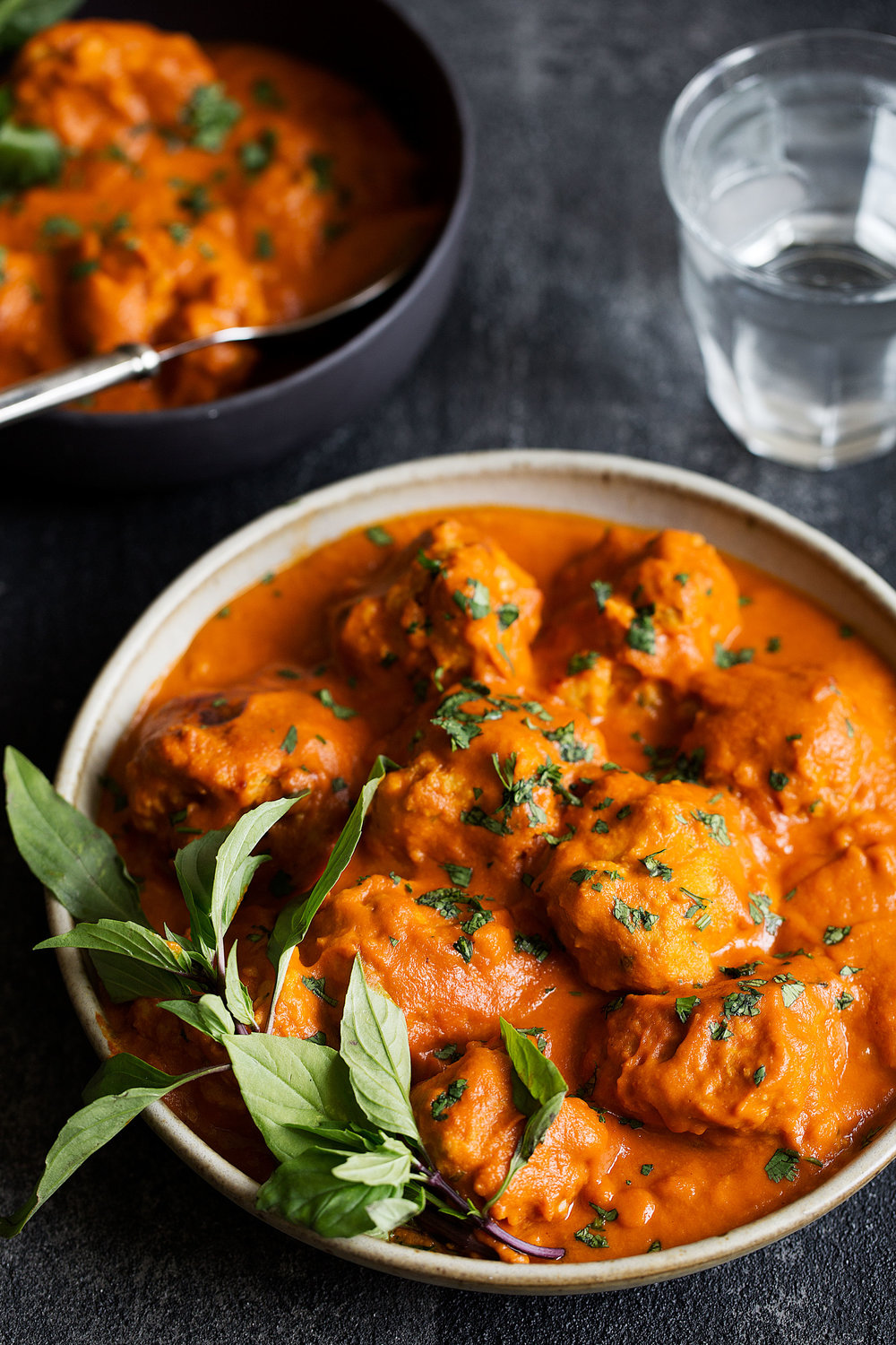 chicken meatballs in coconut curry sauce