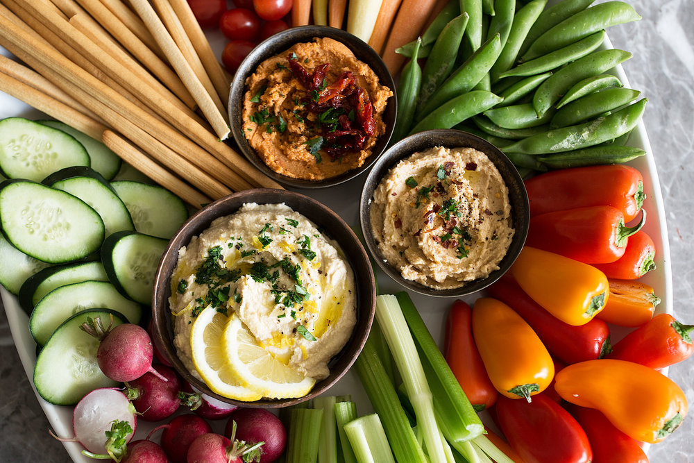 closeup hummus trio