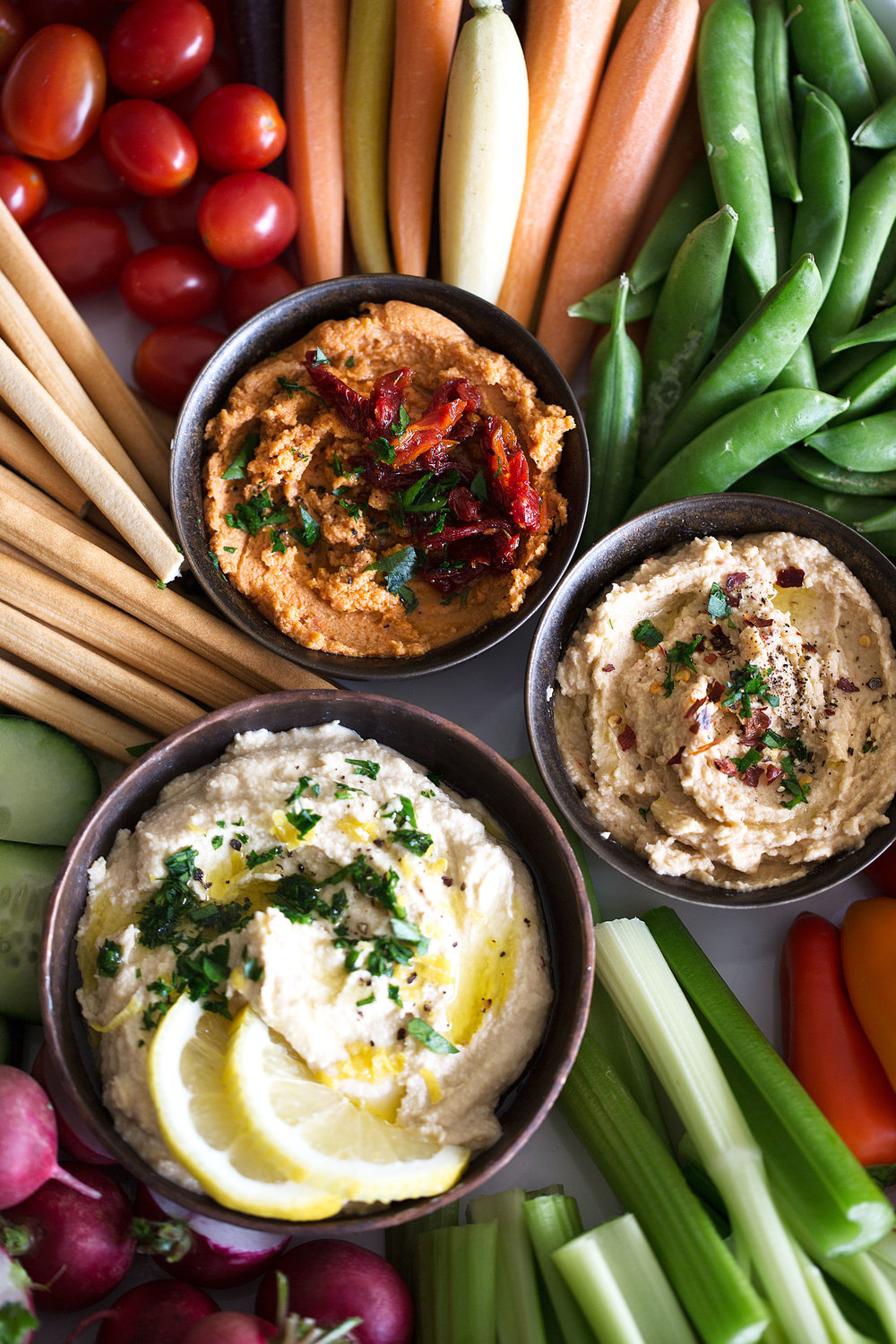 hummus trio closeup