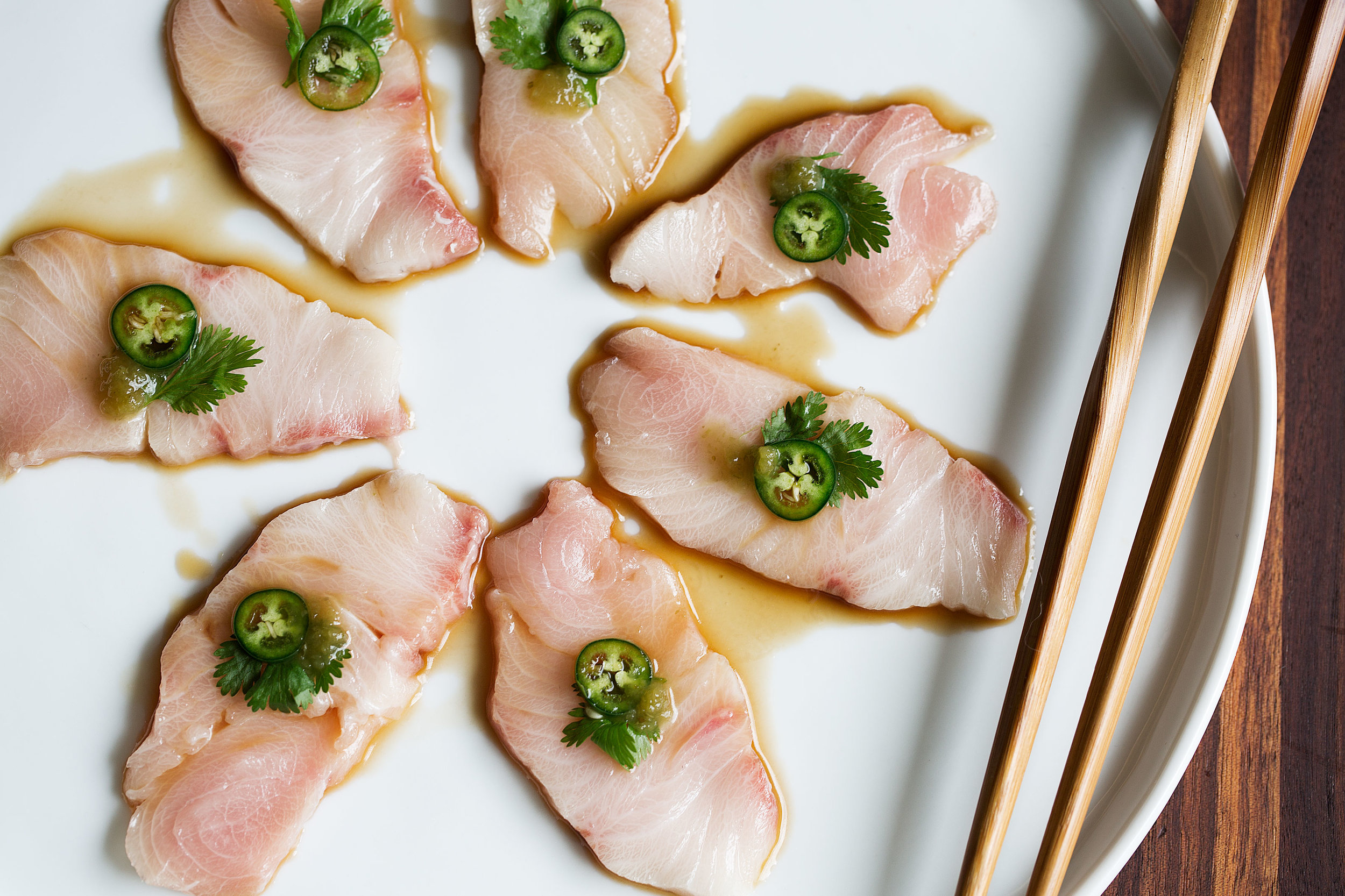 Yellowtail Sashimi with Serrano & Ponzu — Cooking with Cocktail Rings