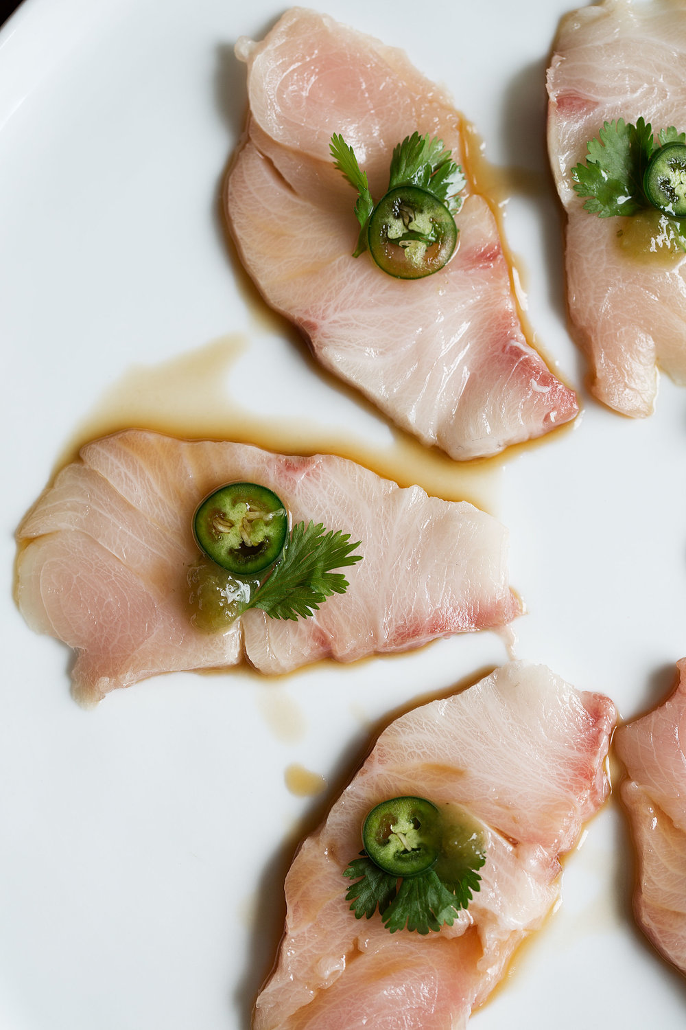 closeup shot of yellowtail hamachi sashimi