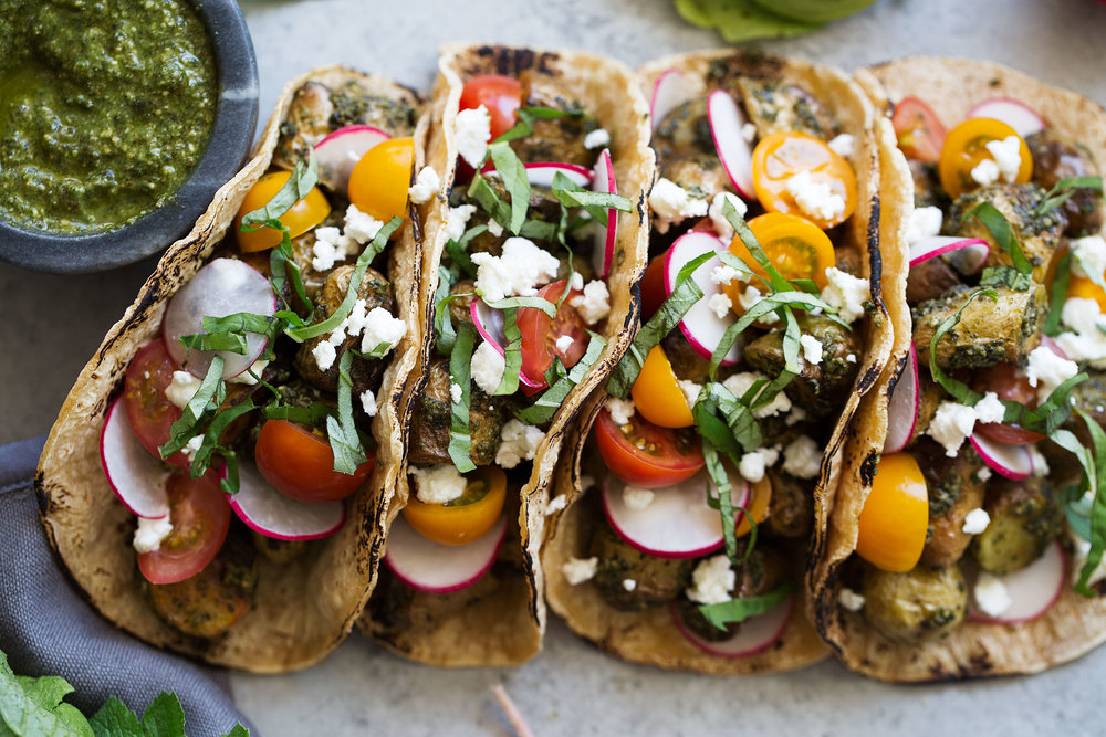 pesto potato tacos with goat cheese