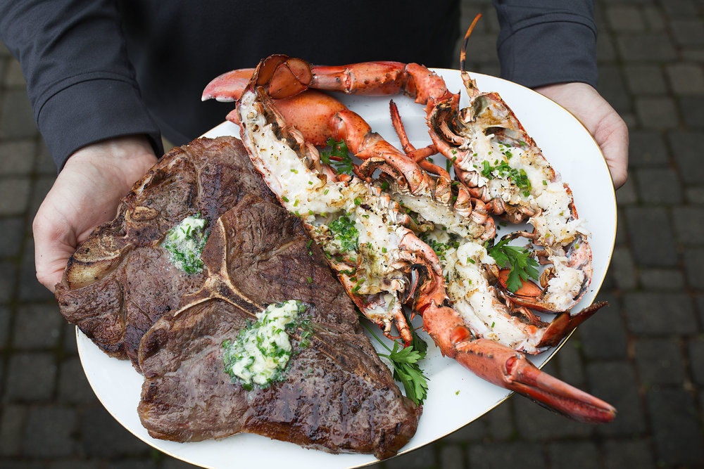 surf and turf with garlic herb butter platter
