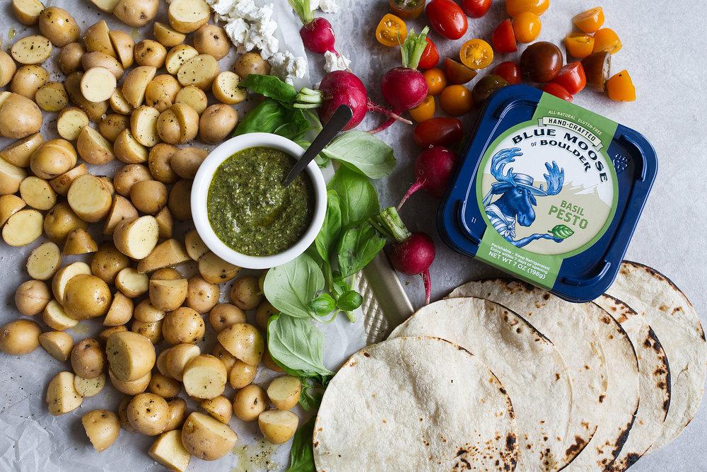 blue moose of boulder pesto potato tacos ingredients