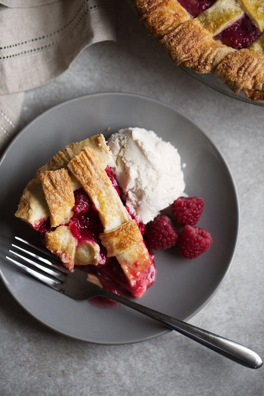 Raspberry Pie with Shortbread Crust closeup slice