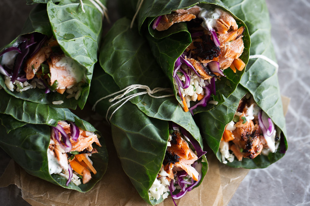 Grilled BBQ Salmon and Veggie Collard Green Wraps with Ranch Yogurt Sauce