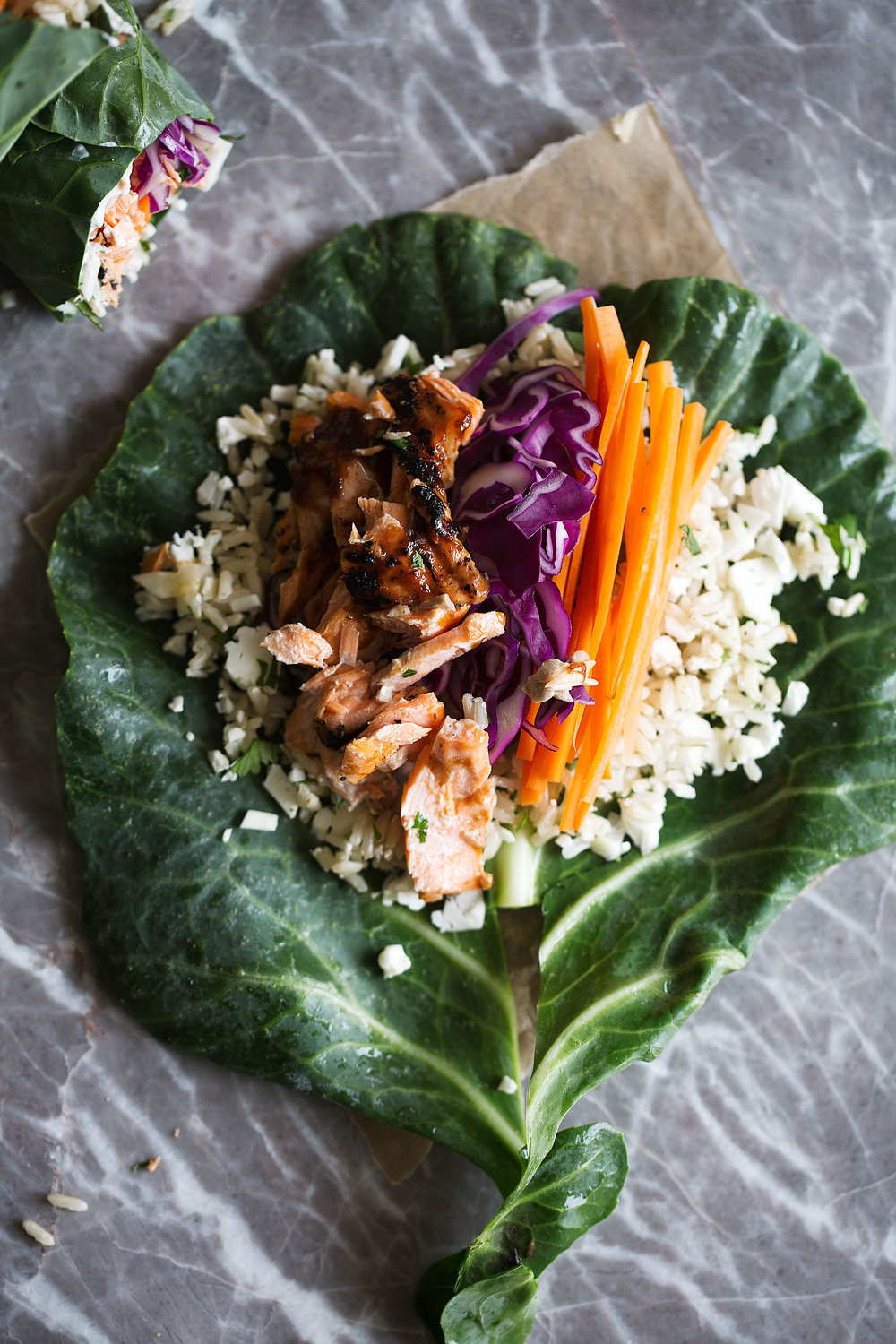grilled BBQ salmon and veggie collard green wrap how to fold