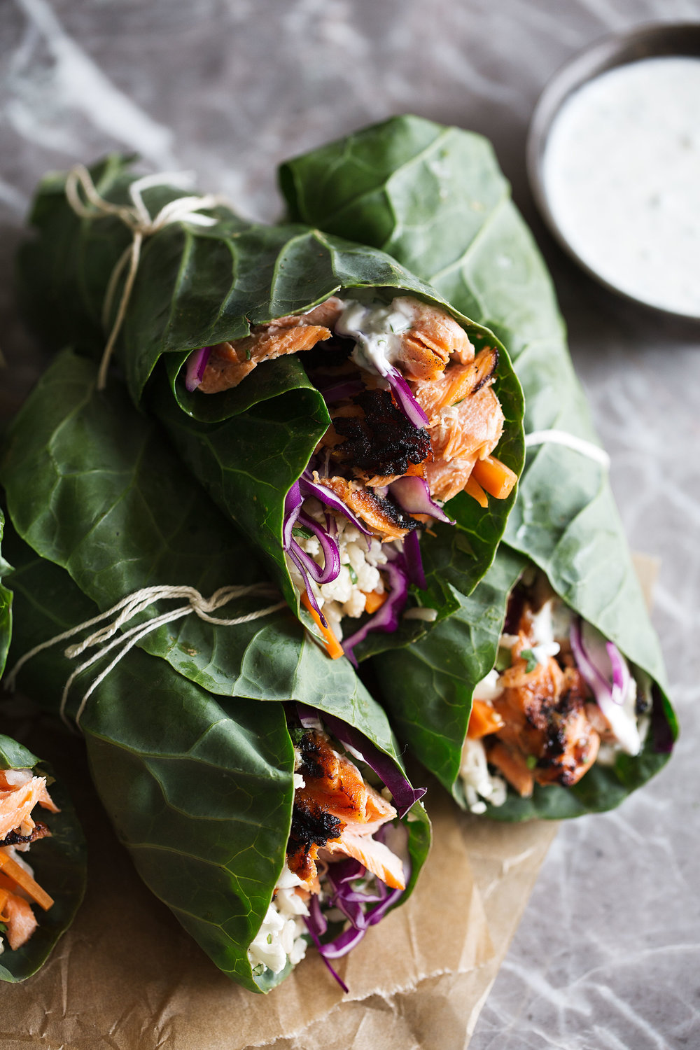 healthy grilled bbq salmon and veggie collard green wrap