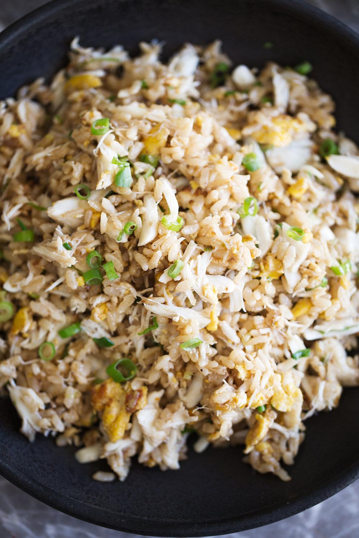 closeup garlic crab fried rice