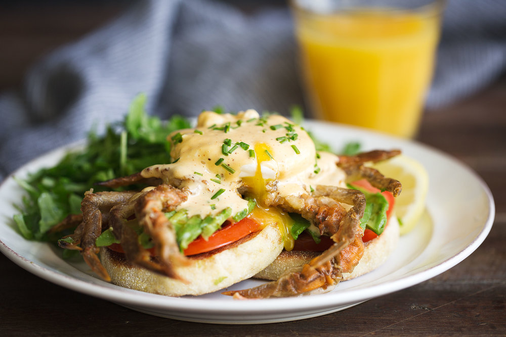 soft shell crab eggs benedict with cajun hollandaise