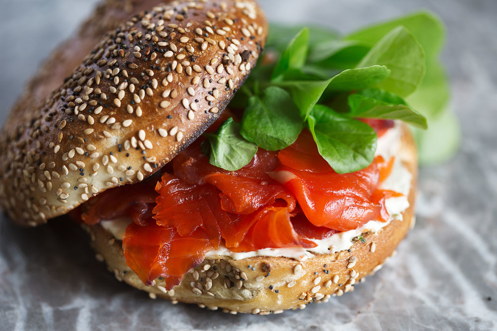 cured salmon bagel with watercress