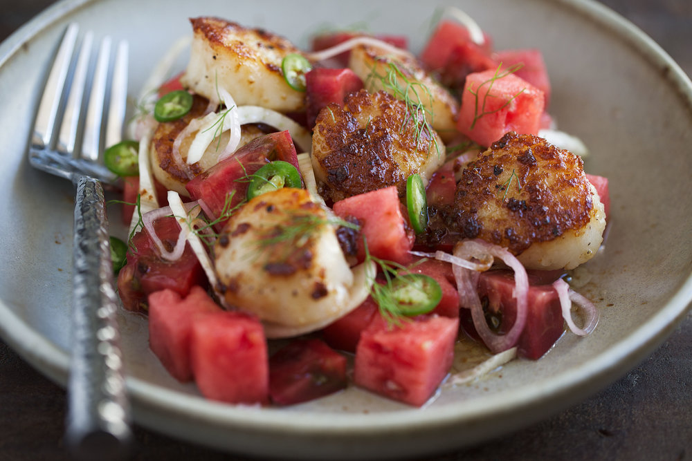 brown butter scallops with pickled shallots, watermelon and serrano