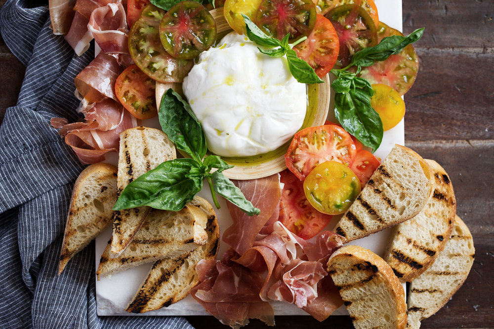 Heirloom Tomato, Prosciutto & Burrata with Garlic-Basil Oil and Grilled Bread