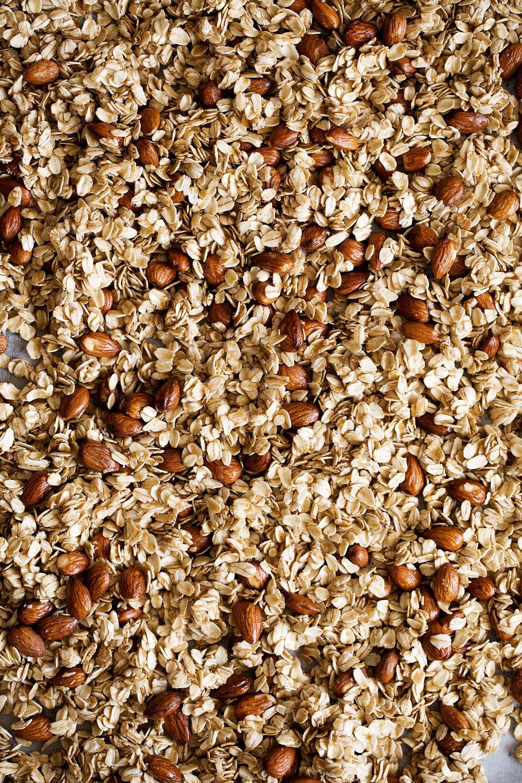 raw honey almond granola before baking