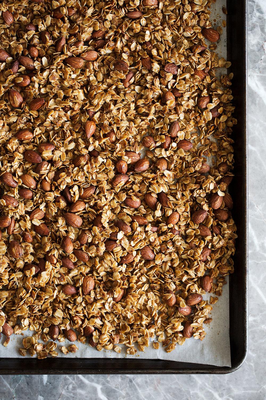 honey almond granola on sheetpan