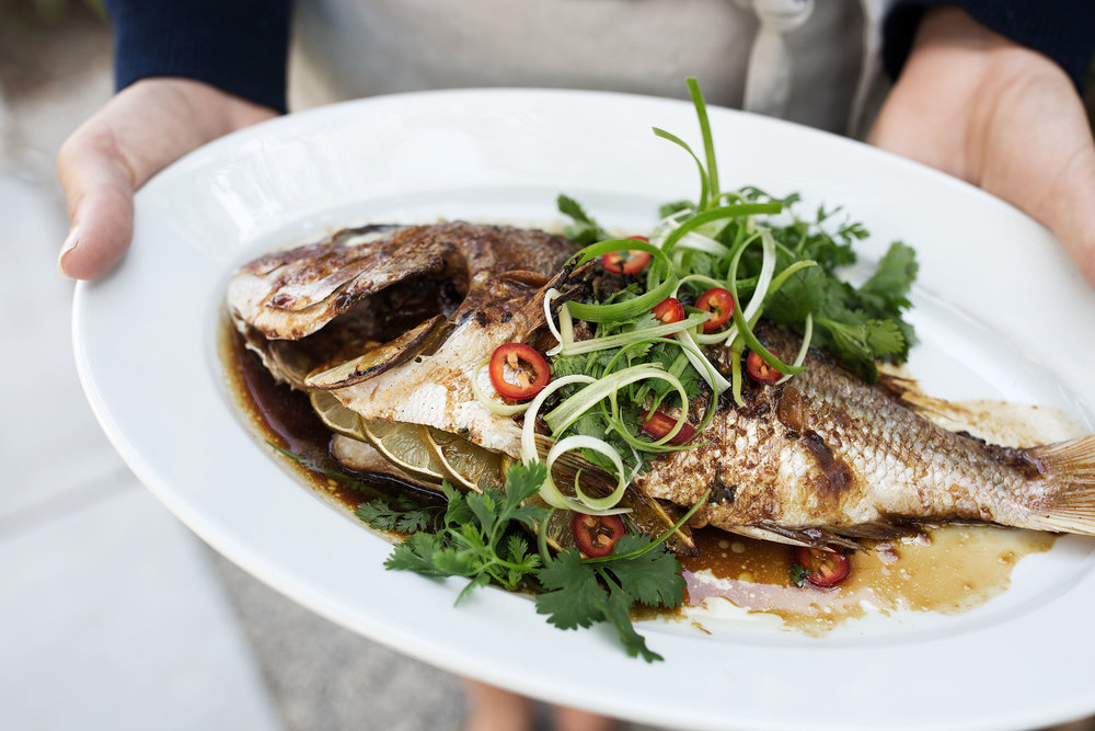 closeup Whole Roast Red Snapper with Asian Spices
