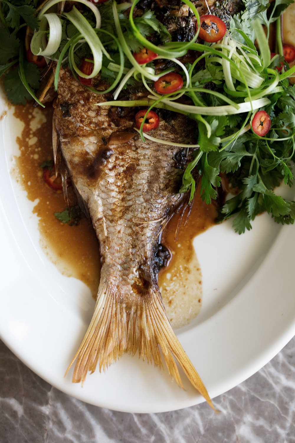 Whole Roast Red Snapper with Asian Spices tail