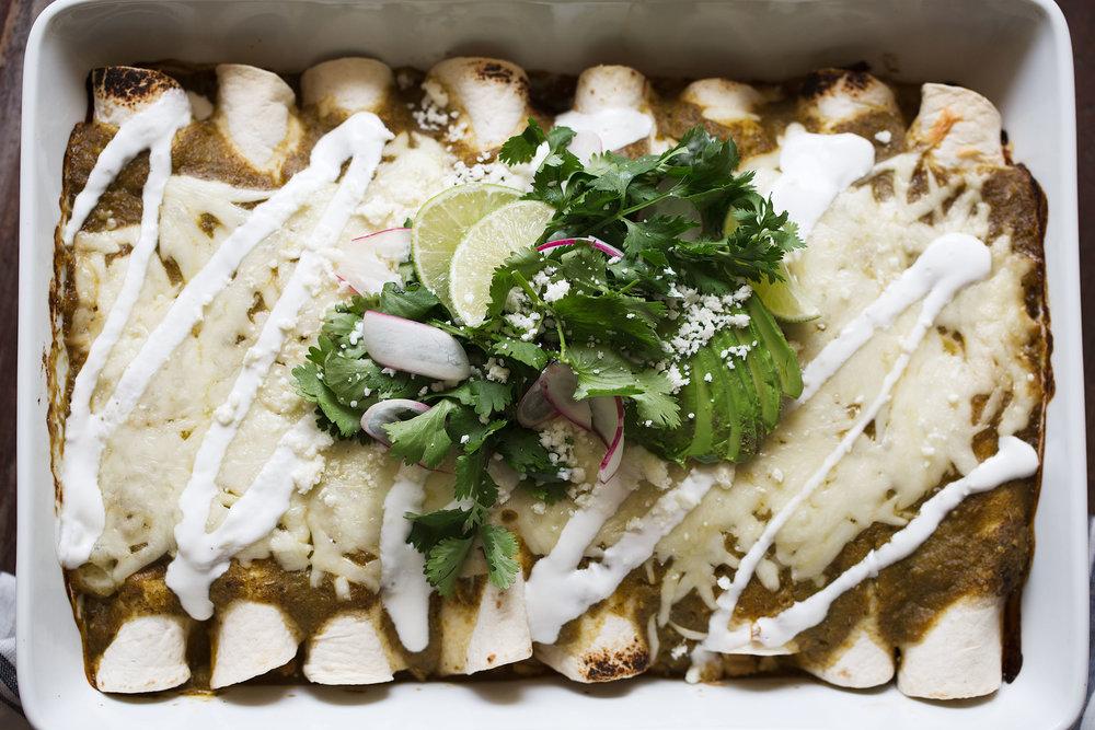 cheesy chicken & sweet corn enchilada verdes