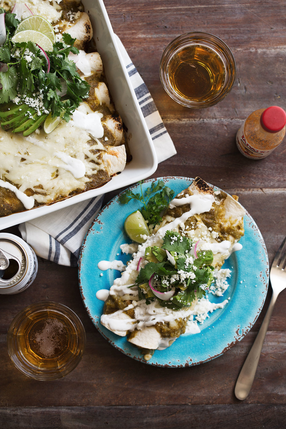 cheesy chicken & sweet corn enchilada verdes