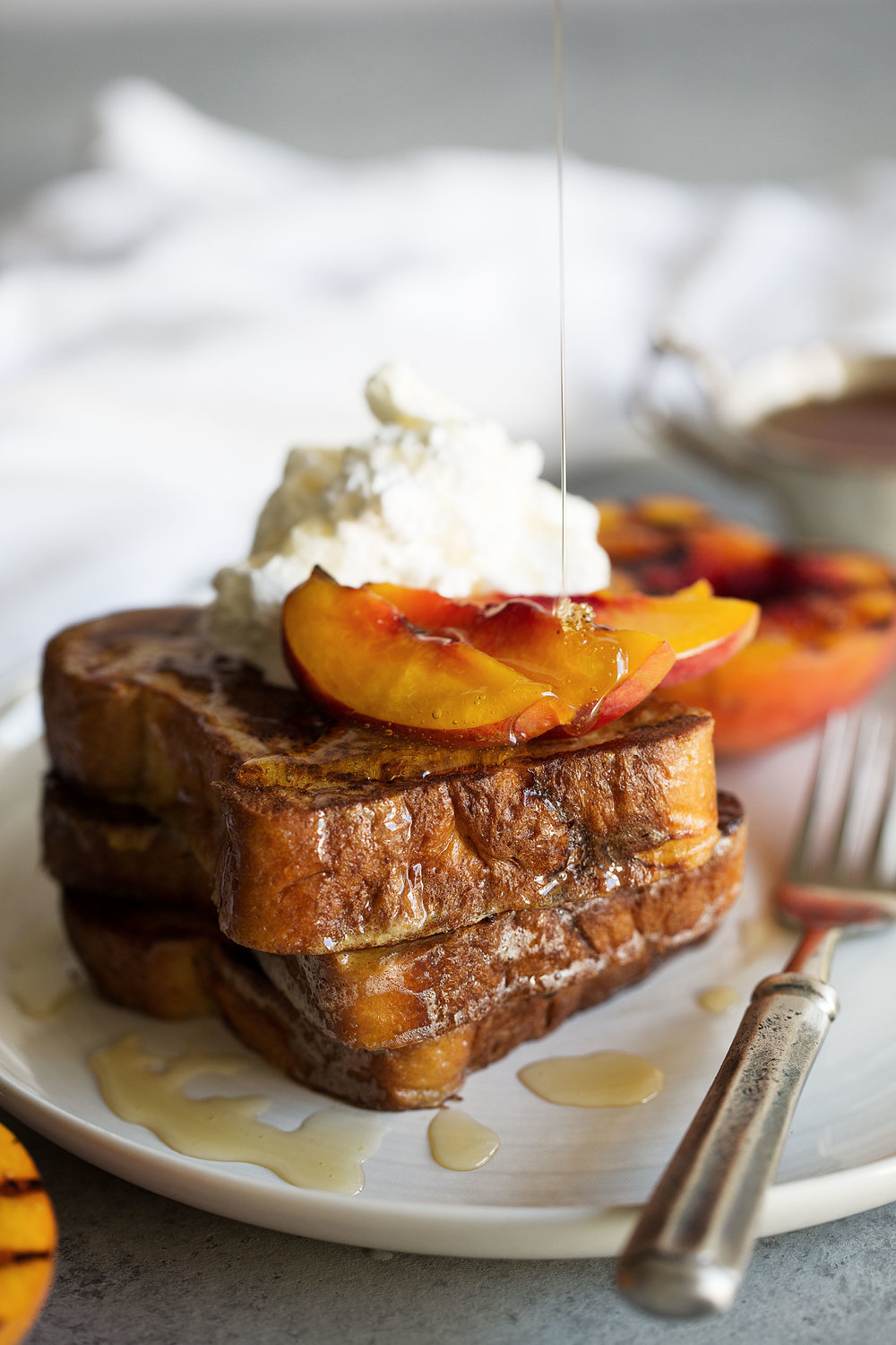grilled peaches and cream challah french toast honey drizzle cooking with cocktail rings