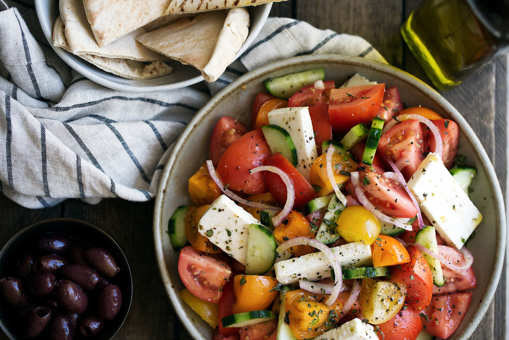Greek Salad cooking with cocktail rings