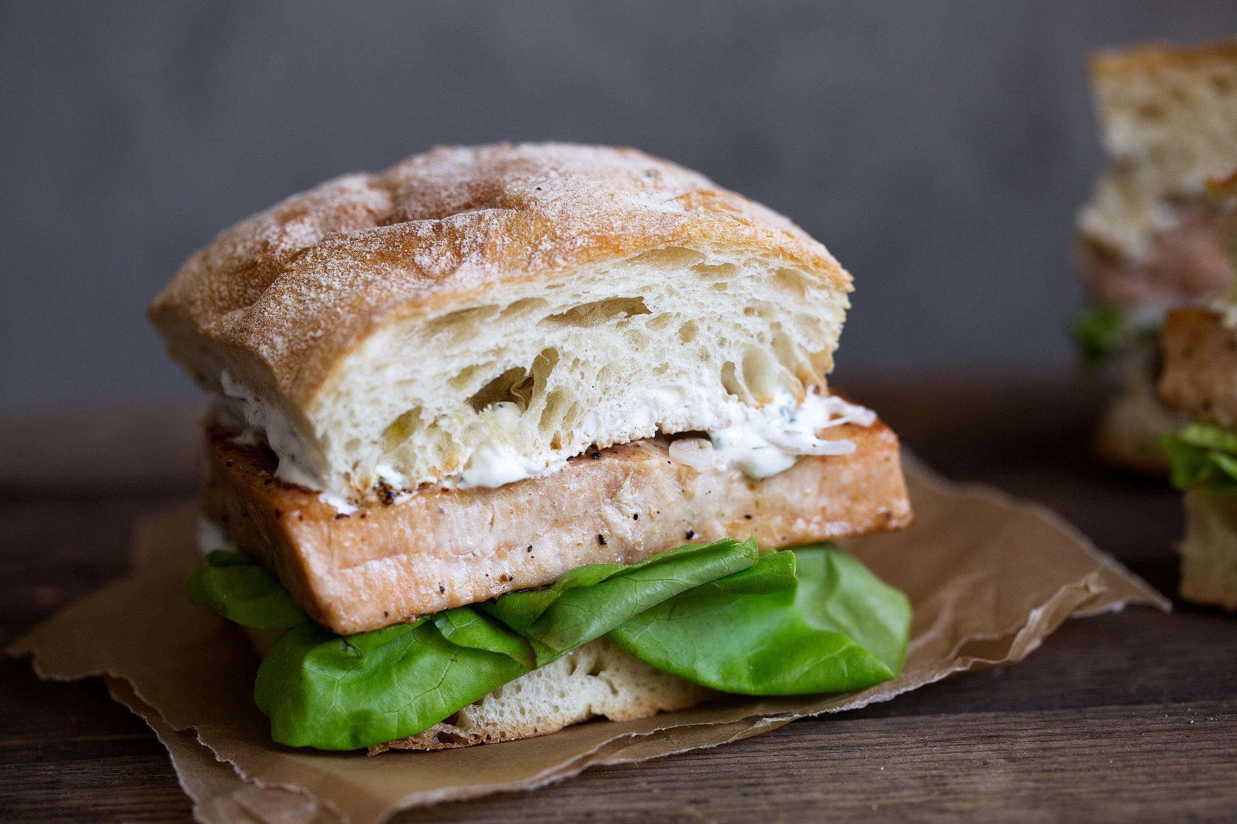 Seared Fish Sandwich with Tarragon Yogurt Sauce and Pickled