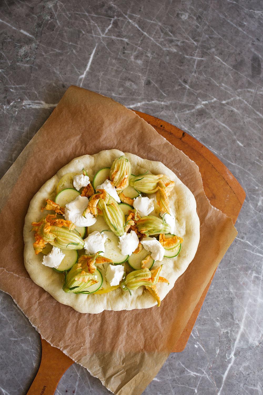 squash blossom and ricotta pizza