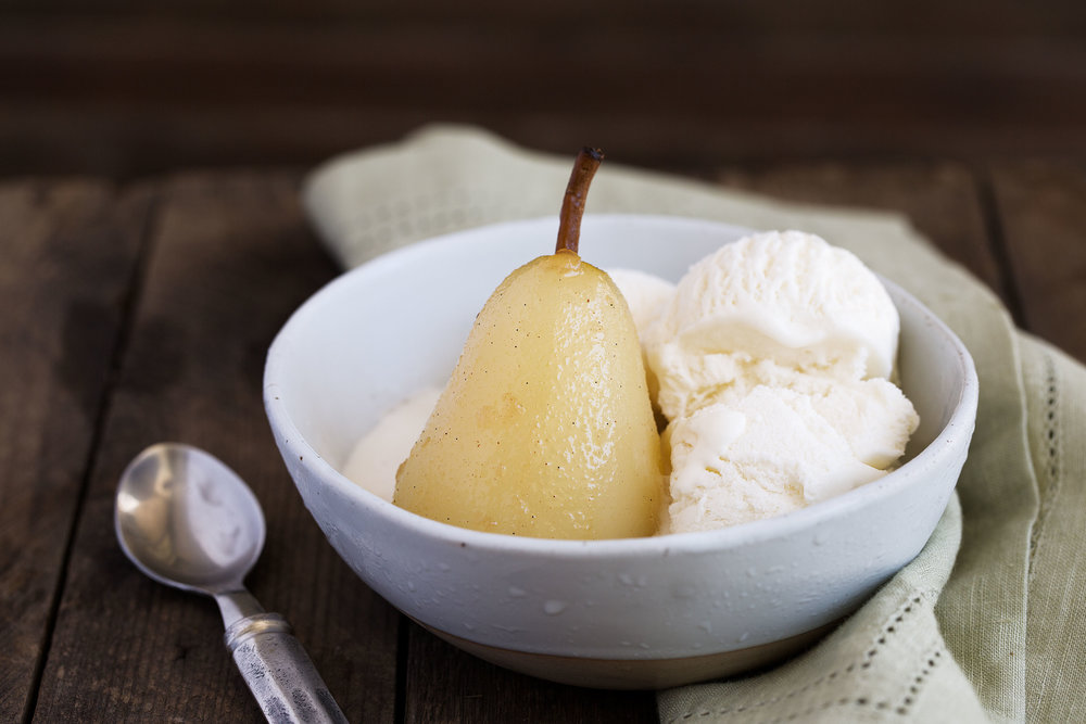 poached pears with vanilla ice cream