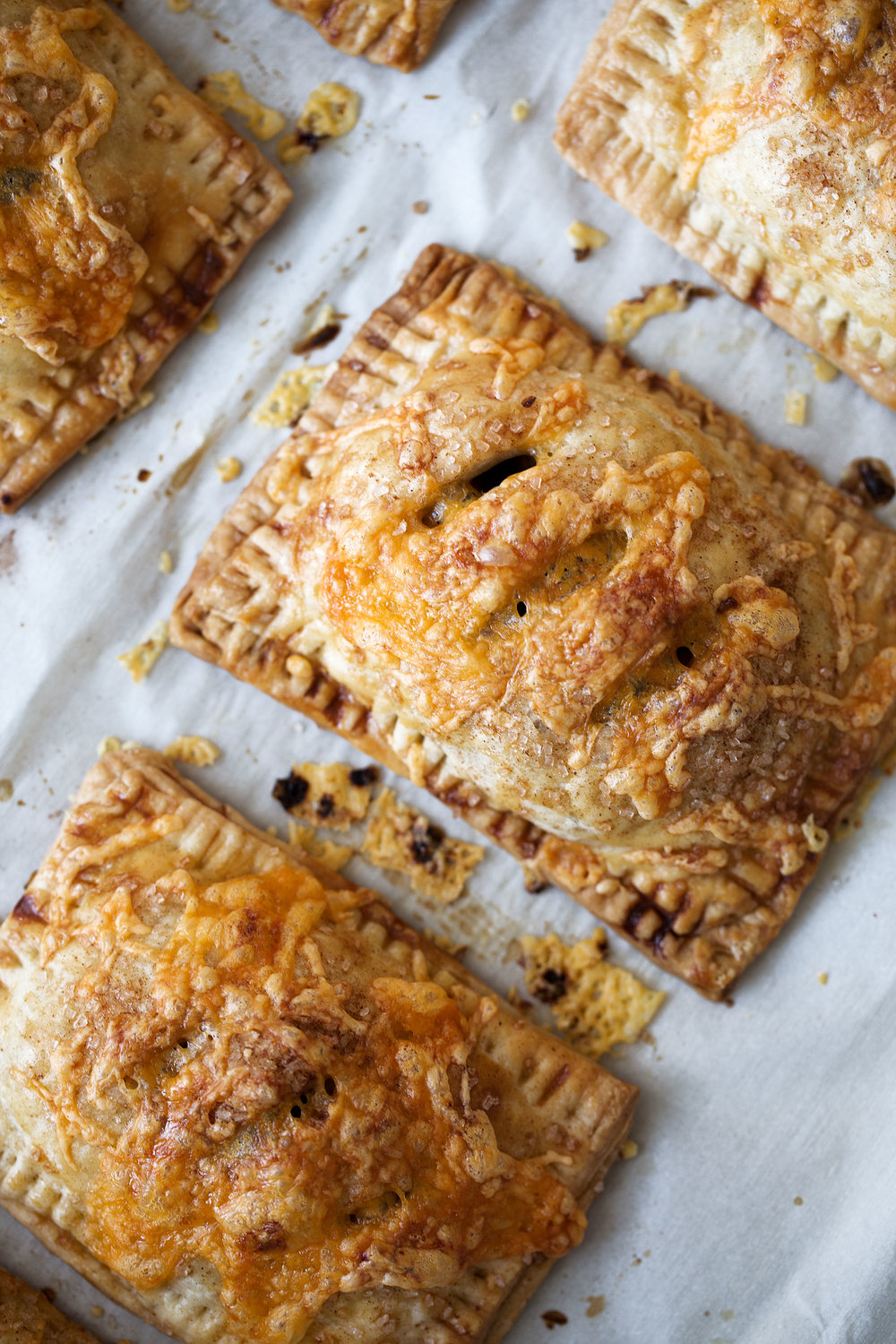 apple cheddar hand pies closeup