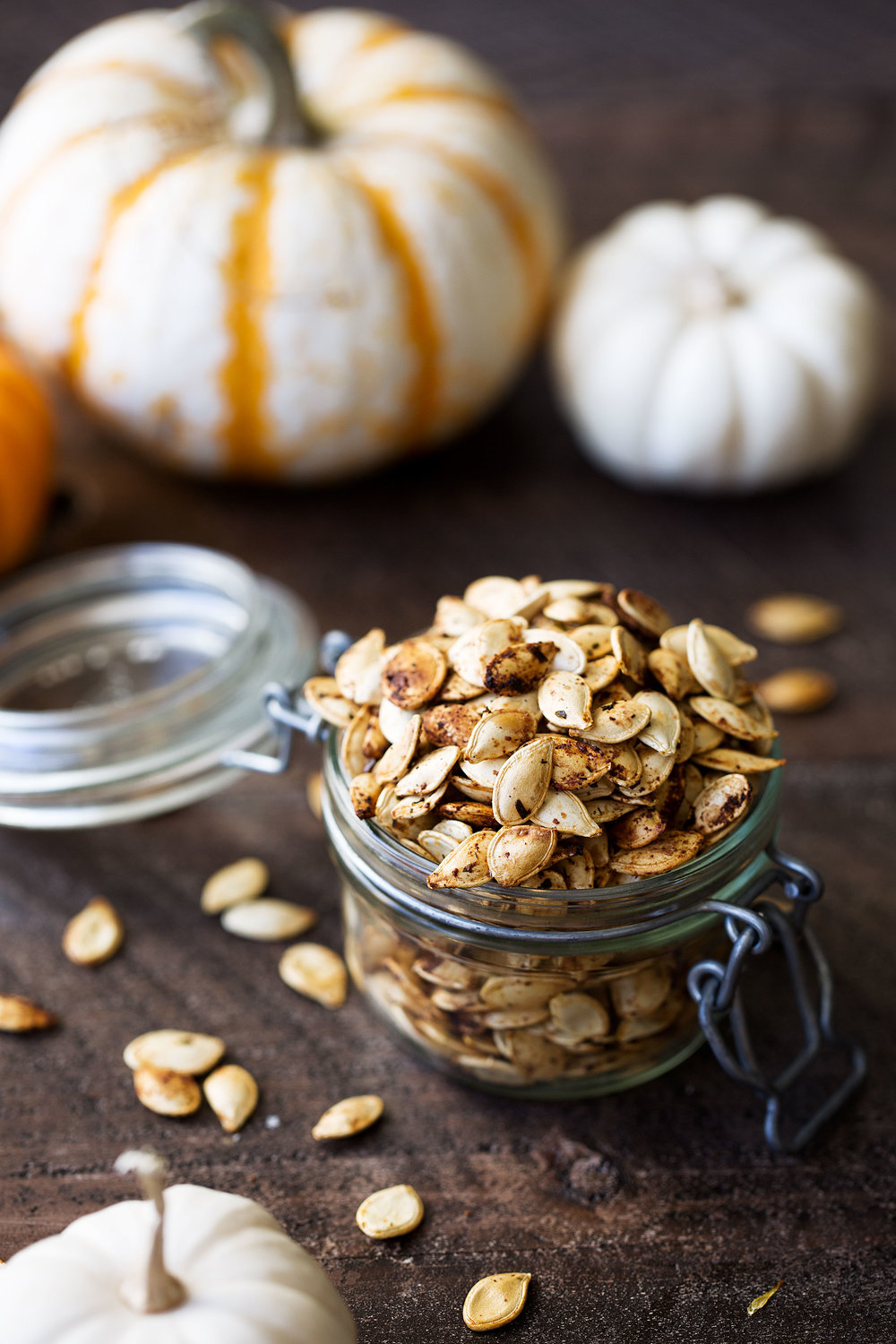roasted pumpkin seeds cooking with cocktail rings