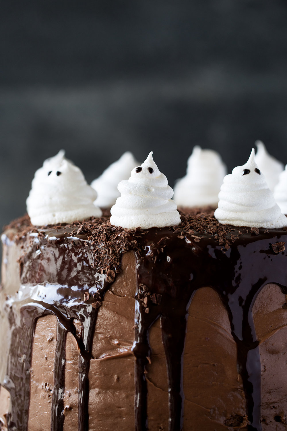 Dark Chocolate Cake with Raspberry Filling, Chocolate Ganache and Meringue Ghosts recipe from Cooking with Cocktail Rings