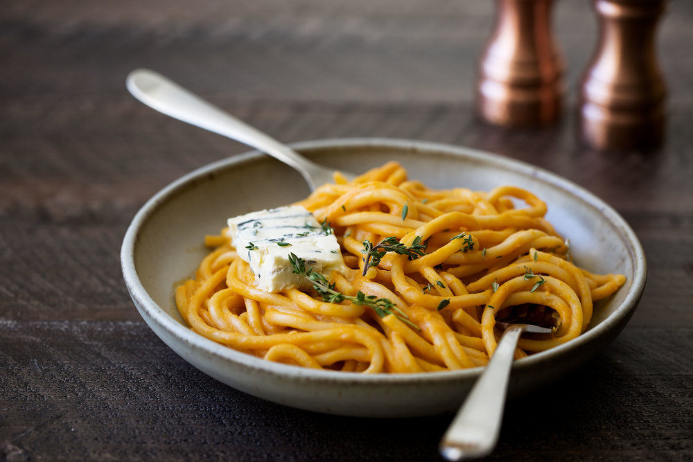 creamy pumpkin pasta with gorgonzola cooking with cocktail rings