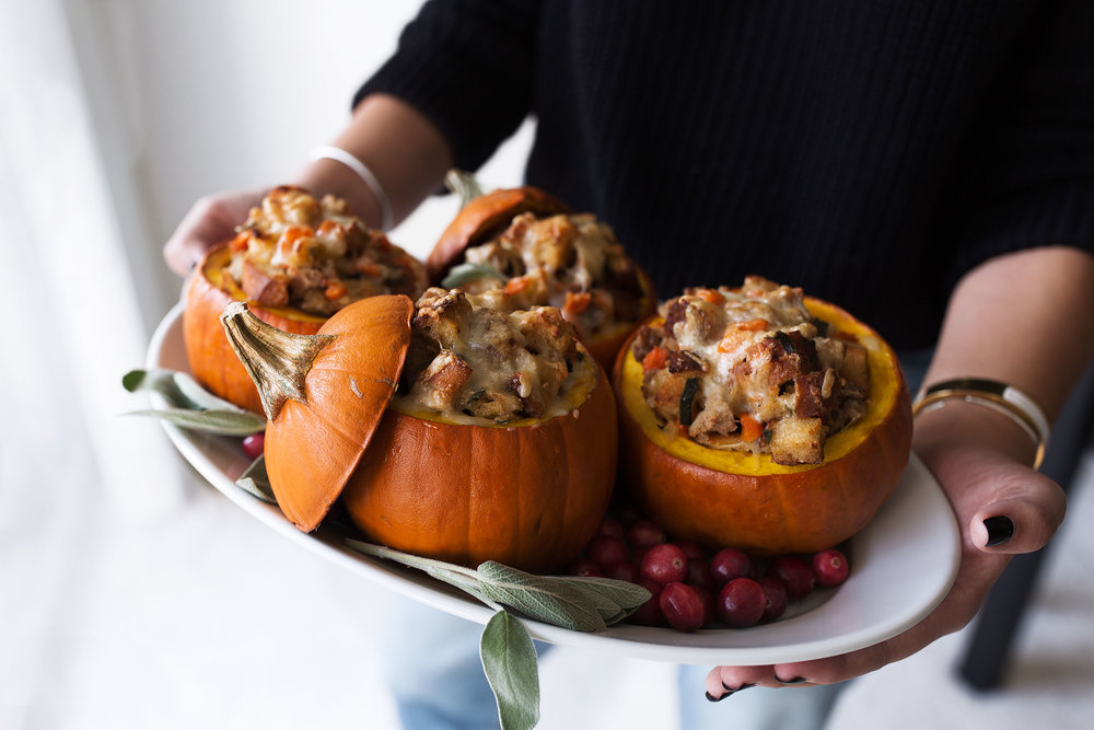 Ground Turkey & Brown Butter Sage Stuffing Filled Roasted Mini Pumpkins Recipe Cooking with cocktail rings
