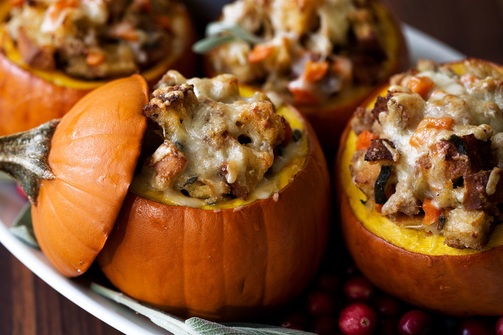Ground Turkey & Brown Butter Sage Stuffing Filled Roasted Mini Pumpkins closeup