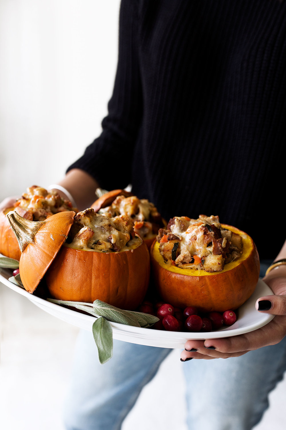 Ground Turkey & Brown Butter Sage Stuffing Filled Roasted Mini Pumpkins thanksgiving recipe from cooking with cocktail rings