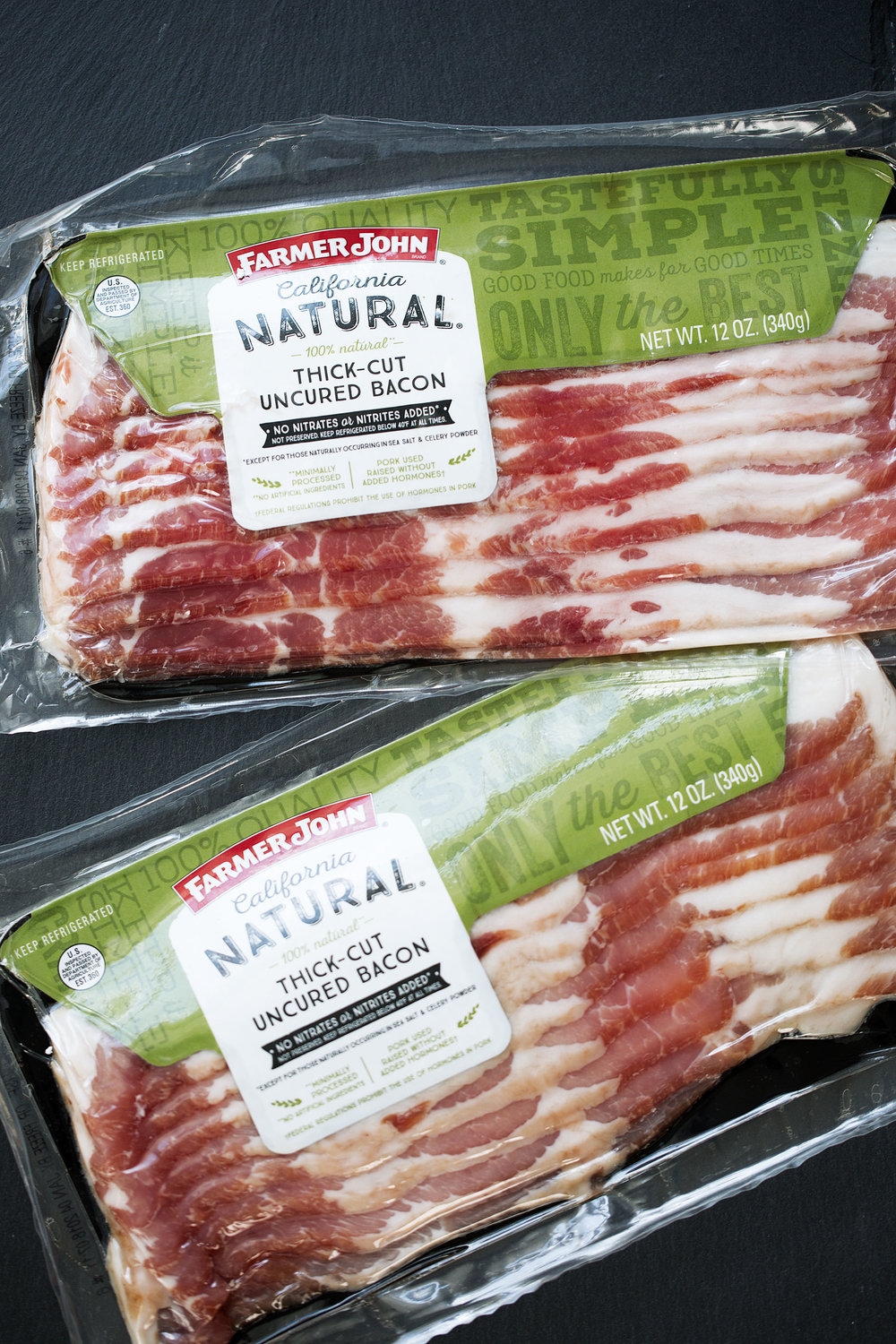 farmer john all-natural bacon ingredient shot