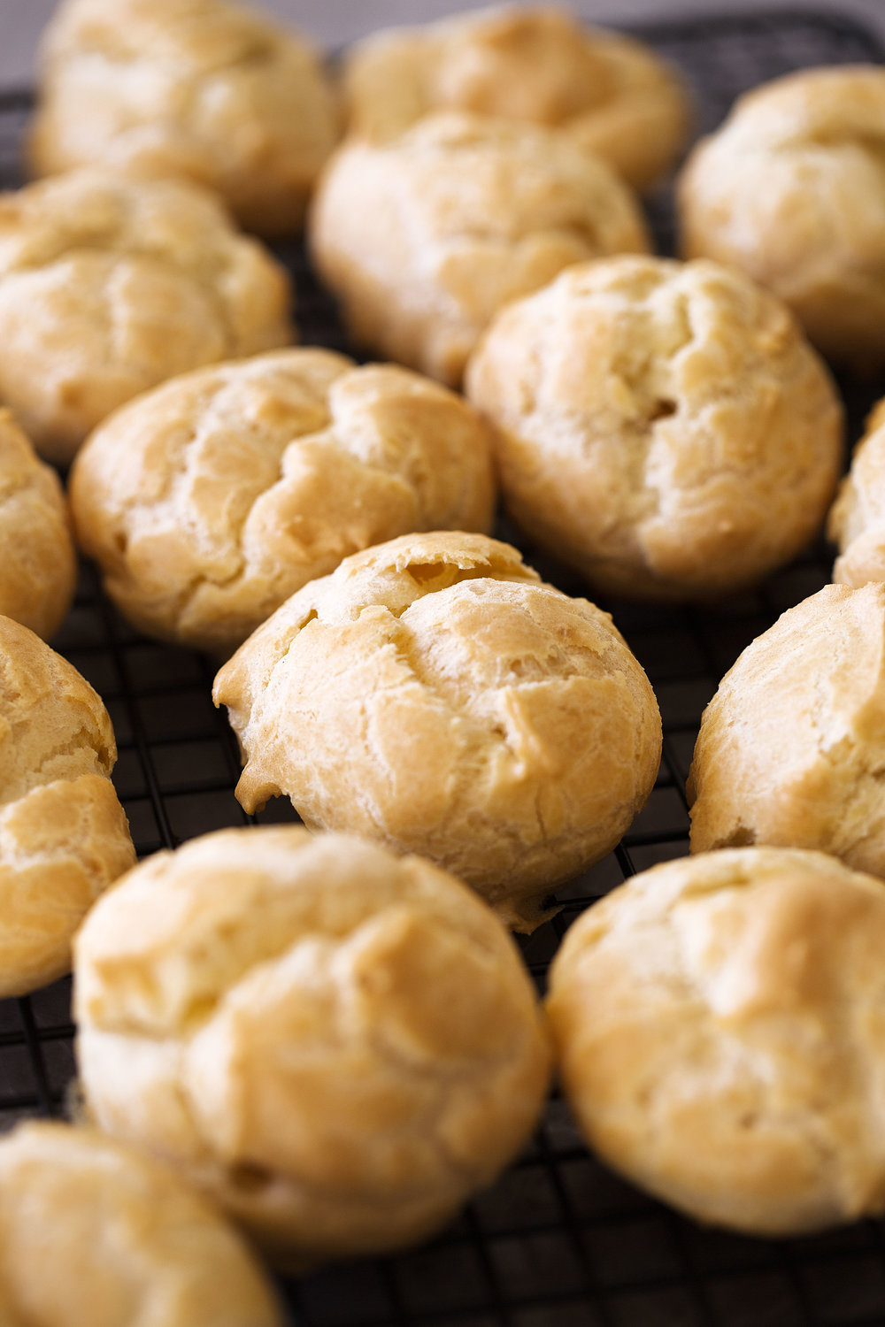 choux pastry closeup cooking with cocktail rings