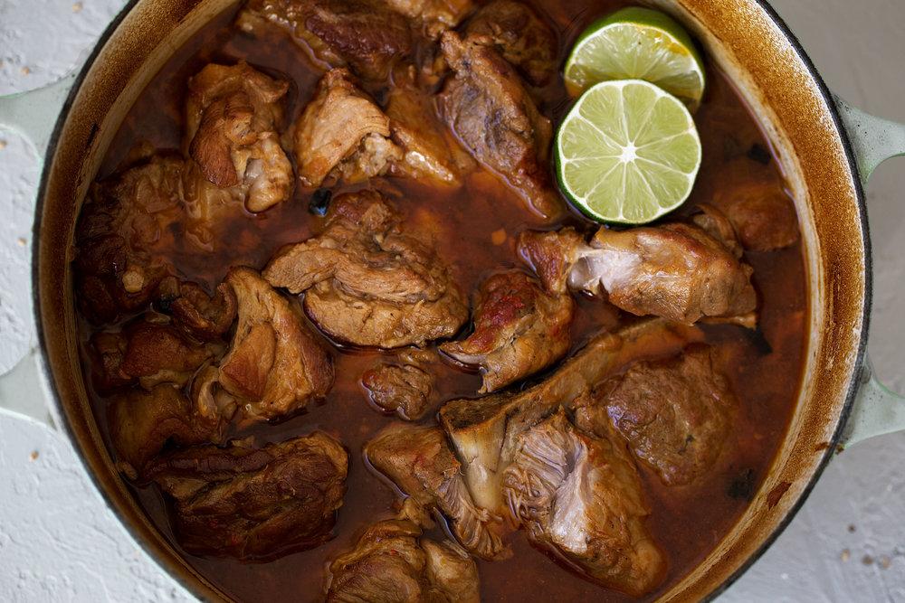 korean braised pork in dutch oven tender