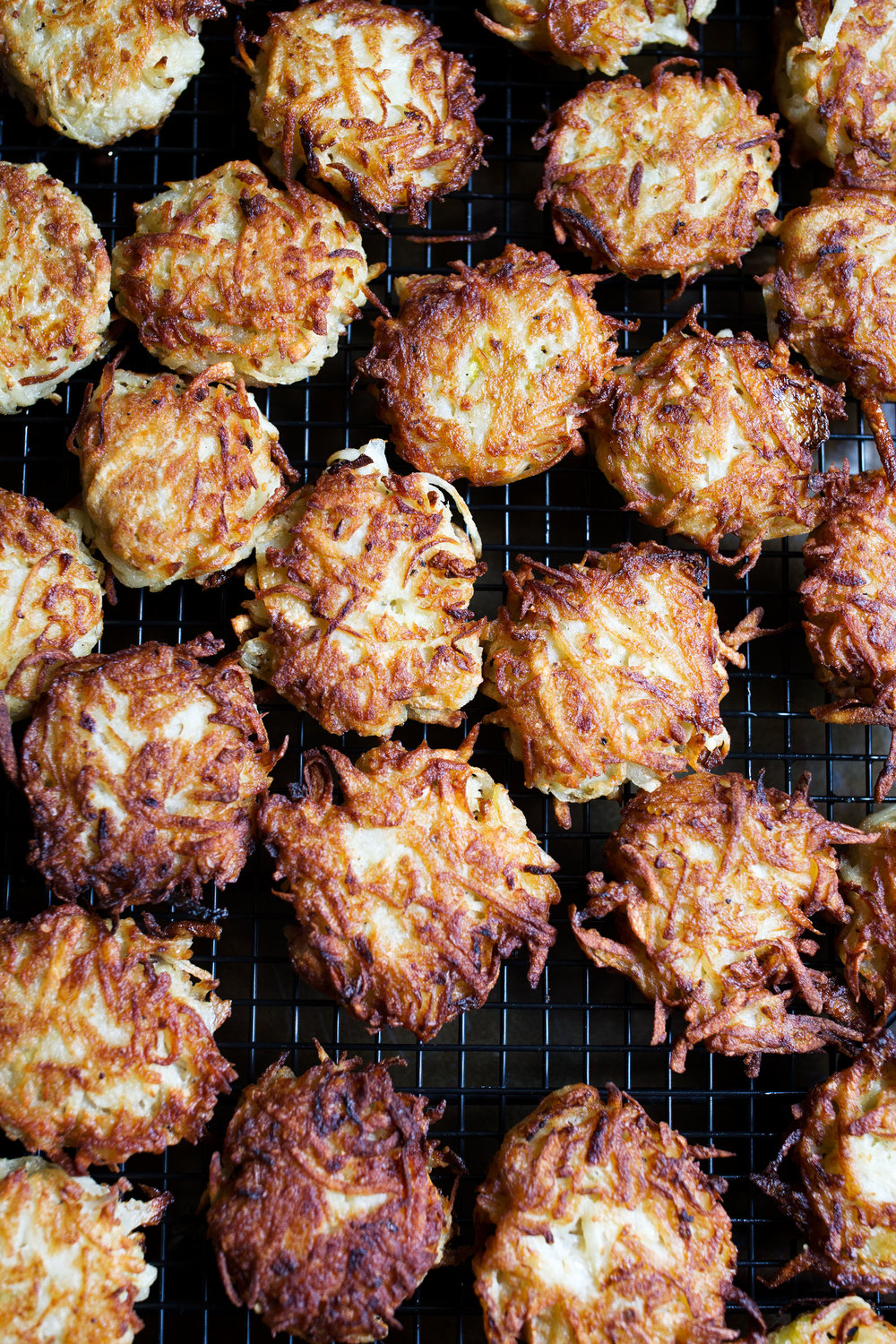 latkes draining on rack