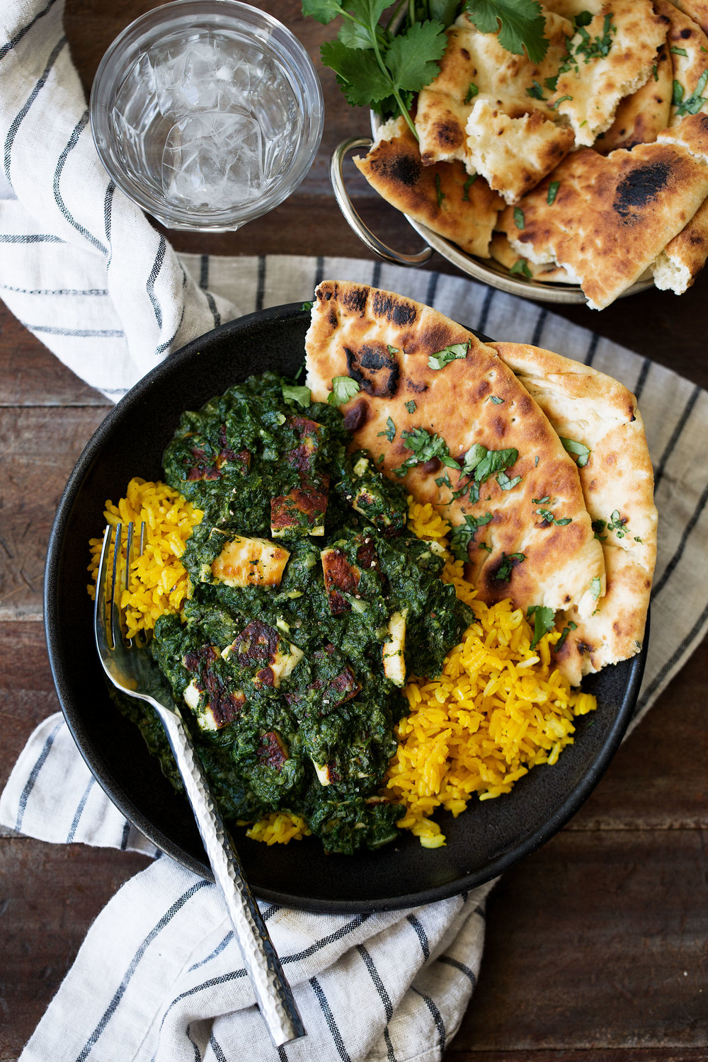 saag paneer over turmeric rice indian recipe cooking with cocktail rings