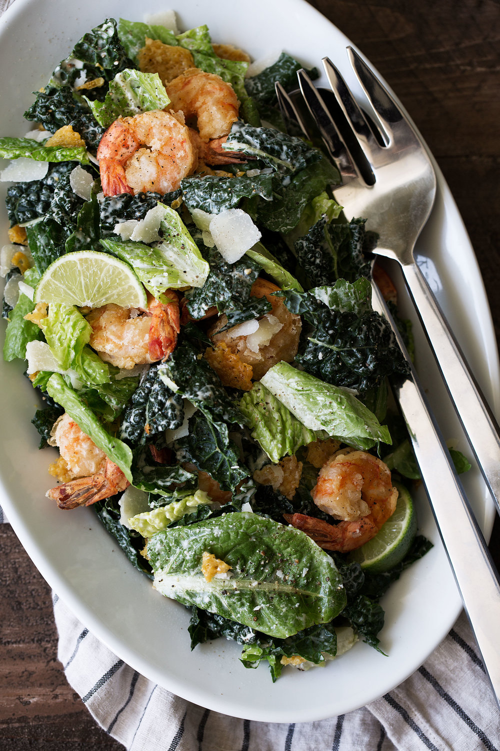 Kale Caesar Salad with Lime and Crispy Shrimp recipe from cooking with cocktail rings