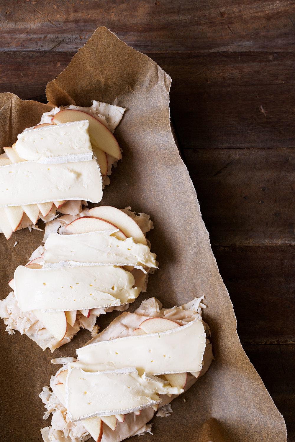 Turkey-Apple-Brie Open-face Sandwich layers for broil
