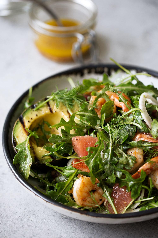 Avocado & Shrimp Salad with Winter Citrus Dressing closeup