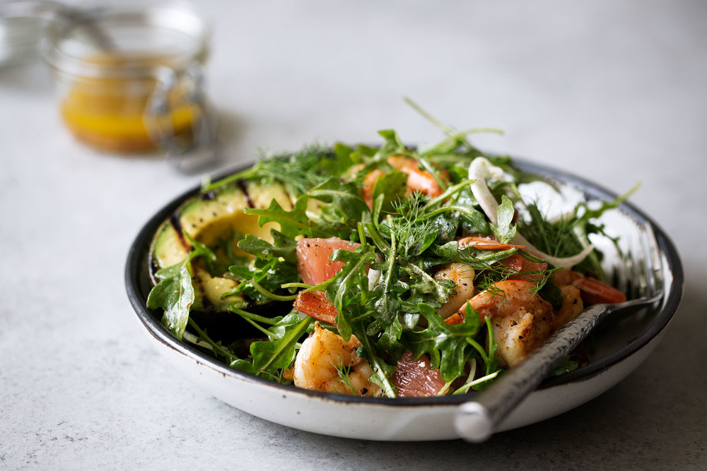 Avocado & Shrimp Salad with Winter Citrus Dressing