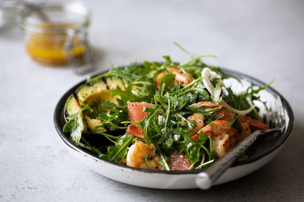 Avocado & Shrimp Salad with Winter Citrus Dressing