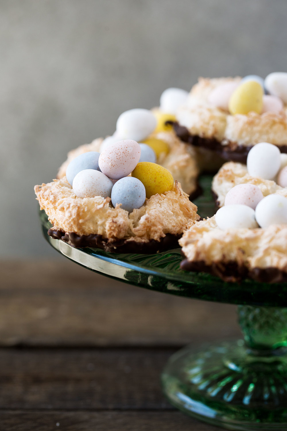 Easter Chocolate Coconut Macaroon Nests recipe from Cooking with cocktail rings