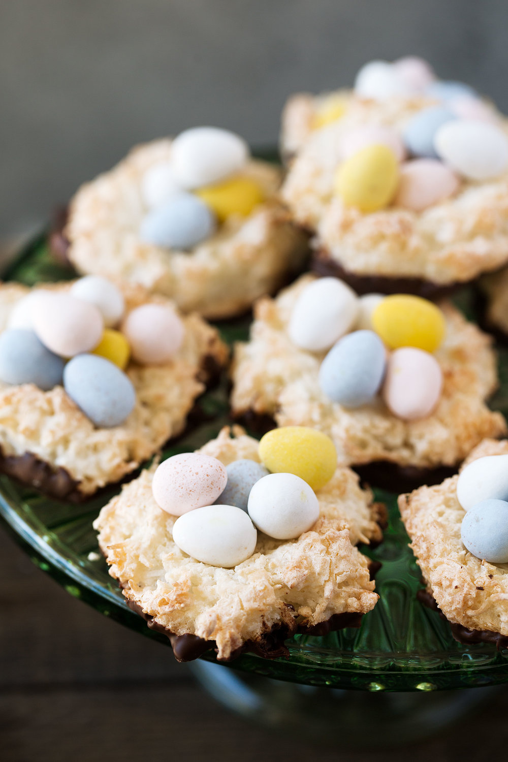 Easter Chocolate Coconut Macaroon Nests recipe from Cooking with cocktail rings top down