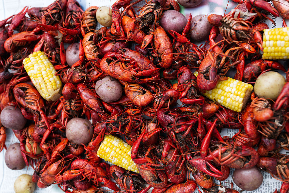 traditional southern crawfish boil recipe from cooking with cocktail rings closeup