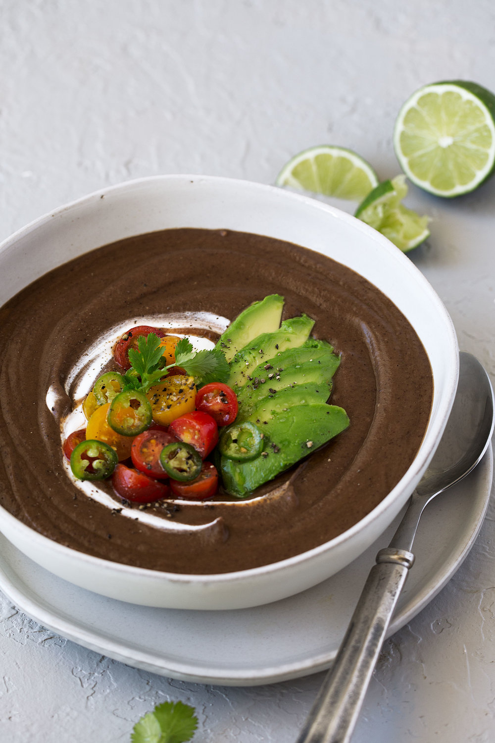black bean soup with avocado and salsa recipe from cooking with cocktail rings with ca avocado closeup
